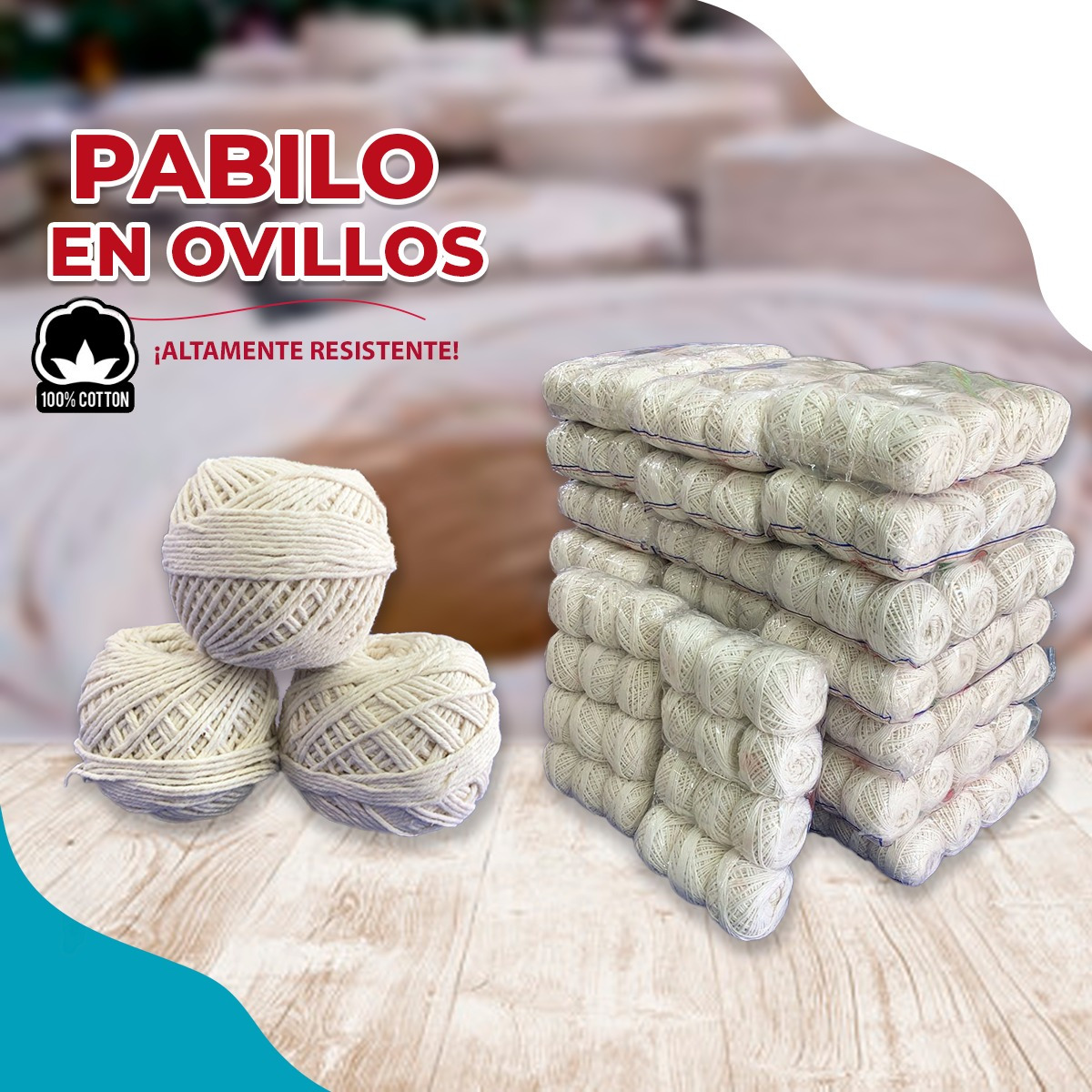 pack de pabilos de algodón en ovillo