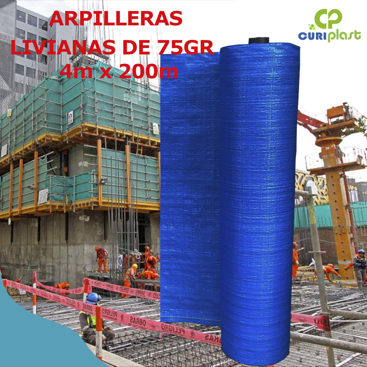 tela arpillera azul 4m liviana